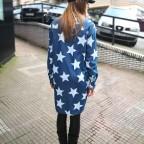 Camisa Denim Extra Long Estrellas