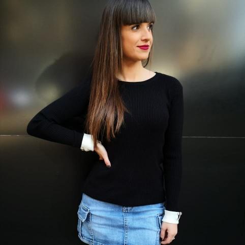 Suéter Canalé Puños Negro