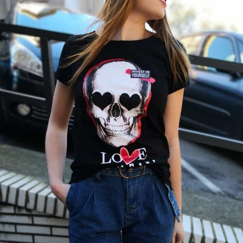 Camiseta Calavera LOVE MON AMOUR Negro