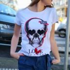 Camiseta Calavera LOVE MON AMOUR Blanco