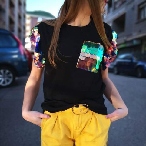 Camiseta Lentejuelas LOLA Negro