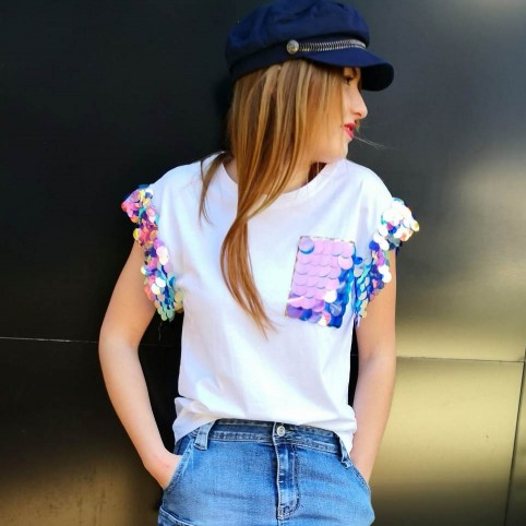 Camiseta Lentejuelas LOLA Blanco
