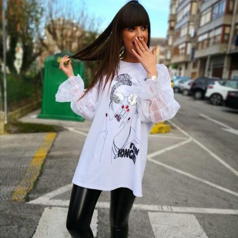 Camiseta Abullonada HONGKOI Blanco