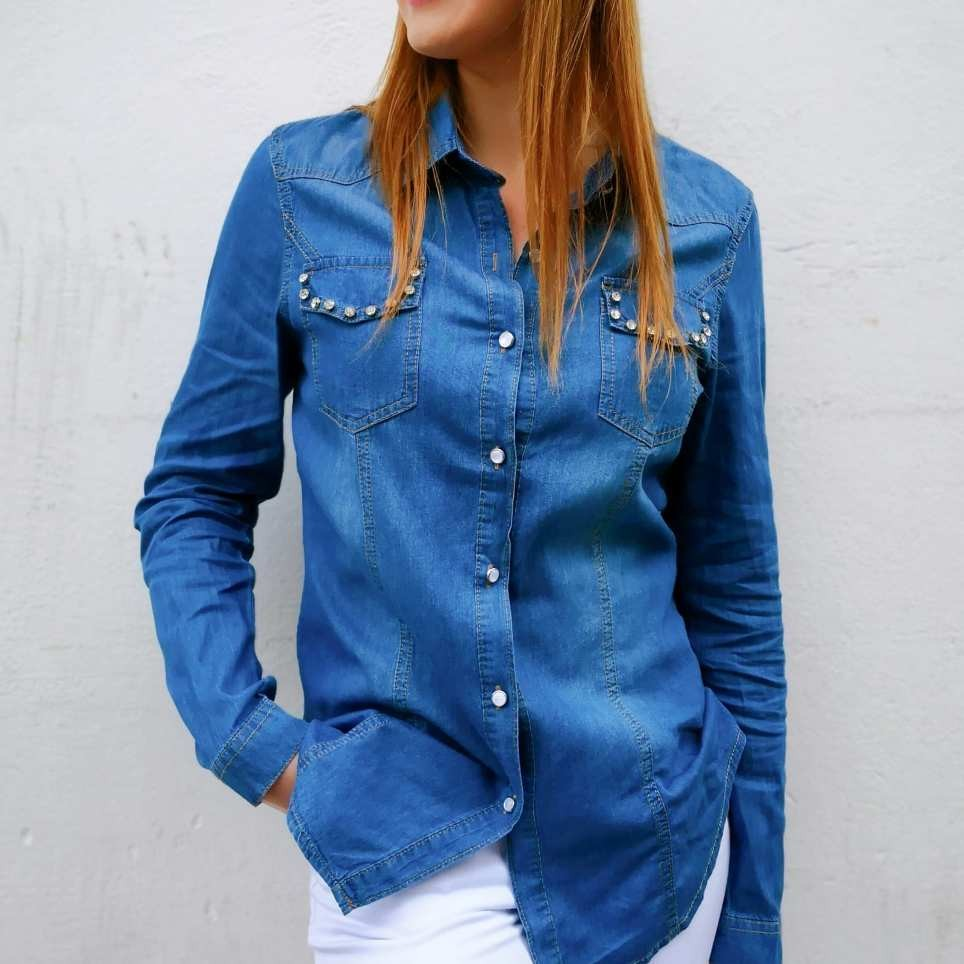 Camisa Denim Strass NYLA