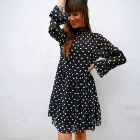 Vestido Gasa Corazones Negro