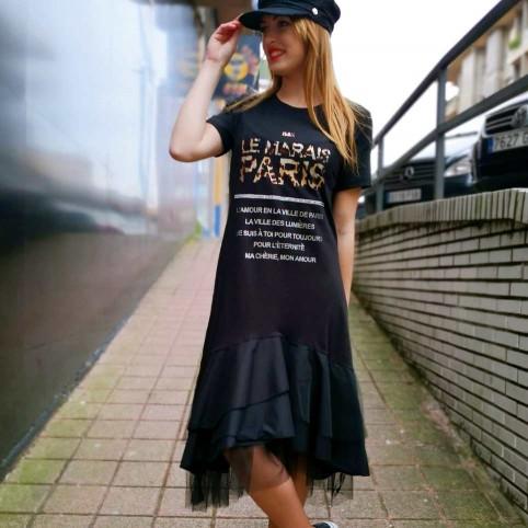 Vestido Volantes LE MARAIS PARIS Negro