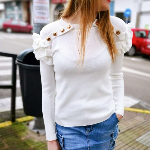 Suéter Volantes BIJOU Blanco