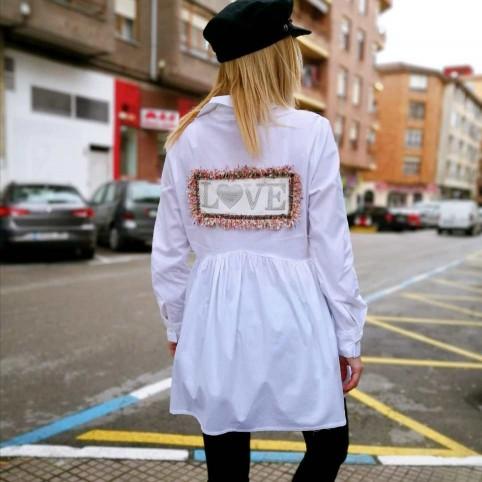 Camisa Asimétrica Glitter/Tweed Blanco