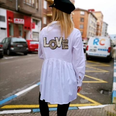 Camisa Asimétrica Perlas/Glitter Blanco