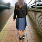 Vestido Combinado GENIUS Denim/Negro