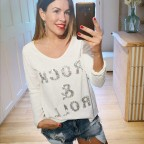 Camiseta Glitter ROCK & ROLL Blanco