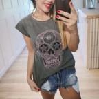 Camiseta Calavera TIJUANA Gris/Rosa