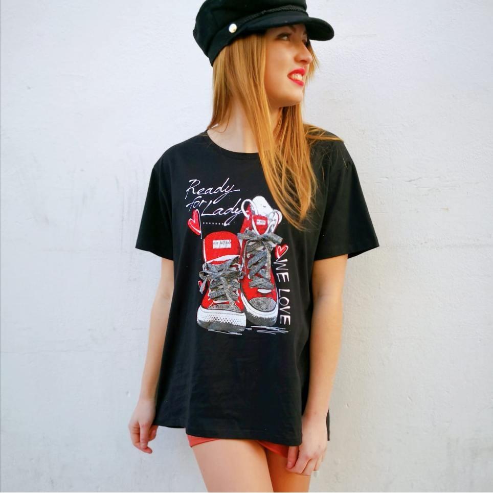 Camiseta Glitter READY Negro