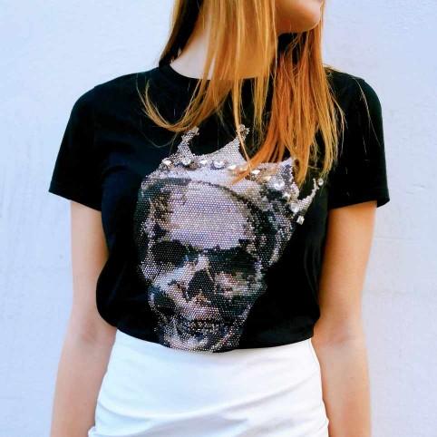 Camiseta Glitter Calavera CROWE Negro