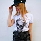 Camiseta Glitter Calavera CROWE Blanco