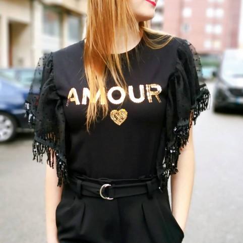 Camiseta Lentejuelas AMOUR Negro/Oro