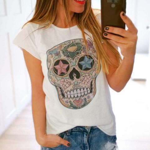 Camiseta Calavera TIJUANA Blanco/Rosa