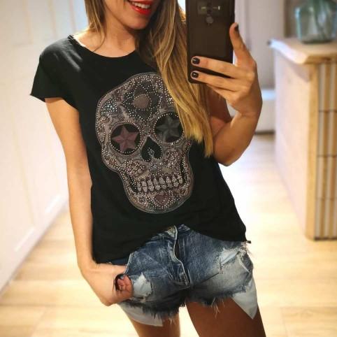 Camiseta Calavera TIJUANA Negro/Rosa