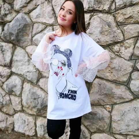 Camiseta Combinada Plumeti HONGKOI Blanco