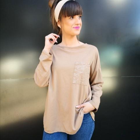 Camiseta Lentejuelas FESTIVAL Camel