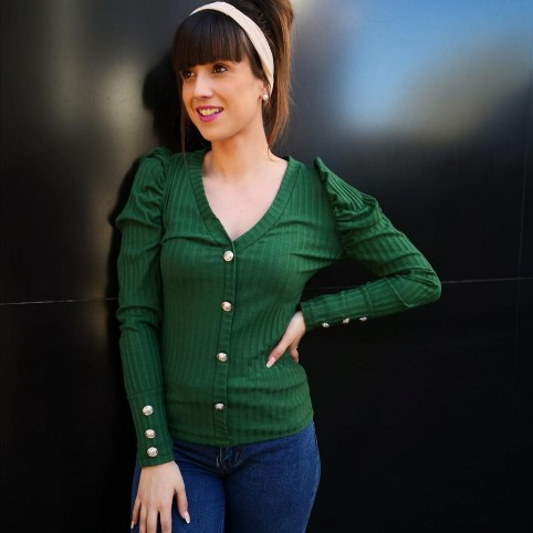 Suéter Abullonado KAYLEE Verde Pino