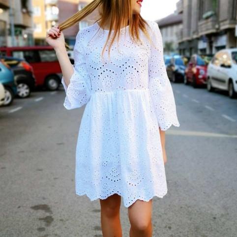 Vestido Calados MARBELLE Blanco Heve