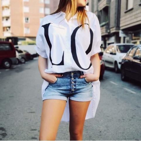 Camisa Oversize LOVE Blanco Heve