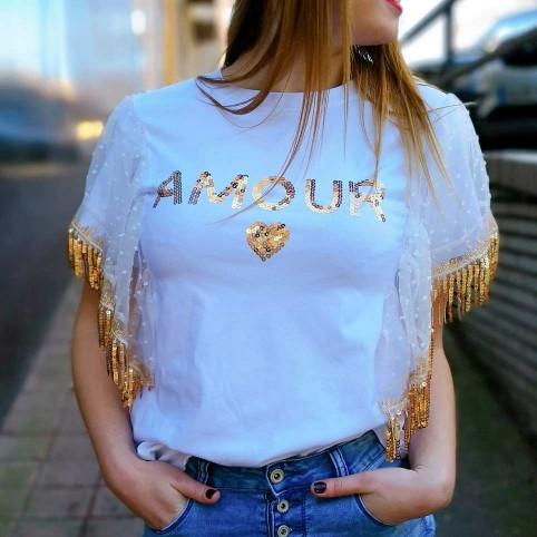 Camiseta Lentejuelas AMOUR Blanco/Oro Heve