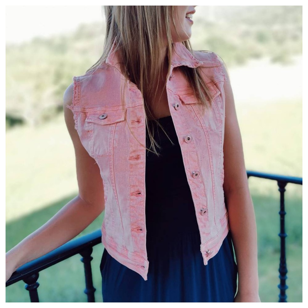 Chaleco Denim SUGAR Rosa Heve