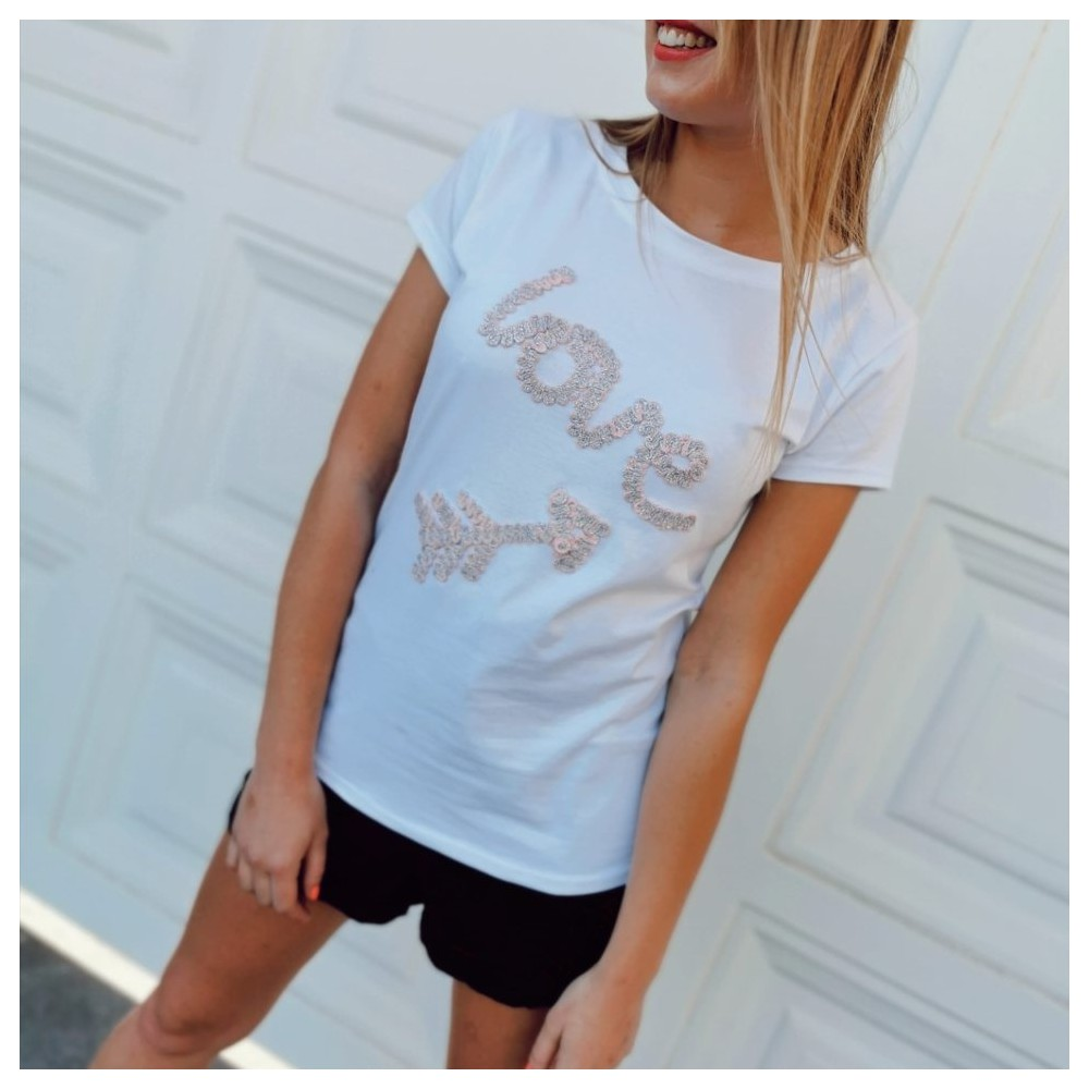 Camiseta Bordado LOVE Blanco/Rosa Heve