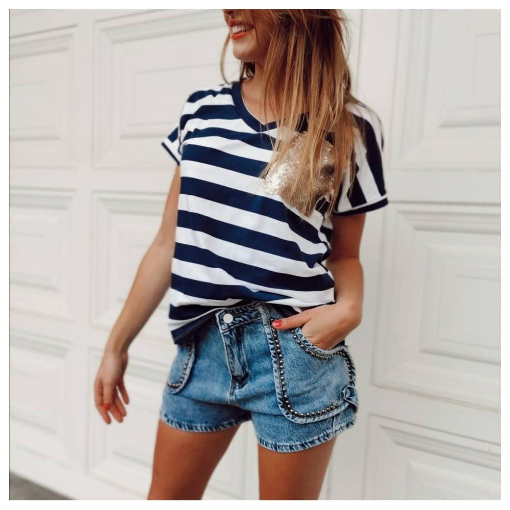Camiseta Rayas MILES Marino/Blanco Heve