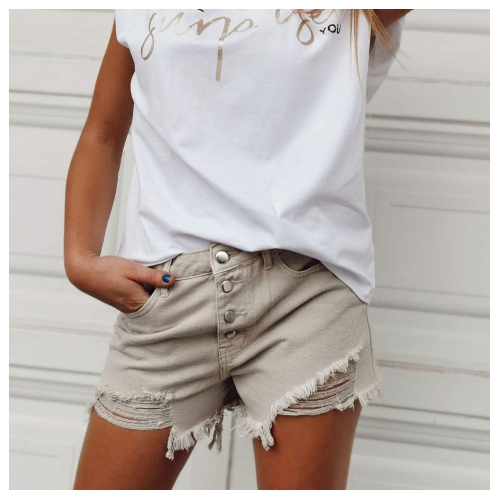 Short Ripped CHILL Beige Heve