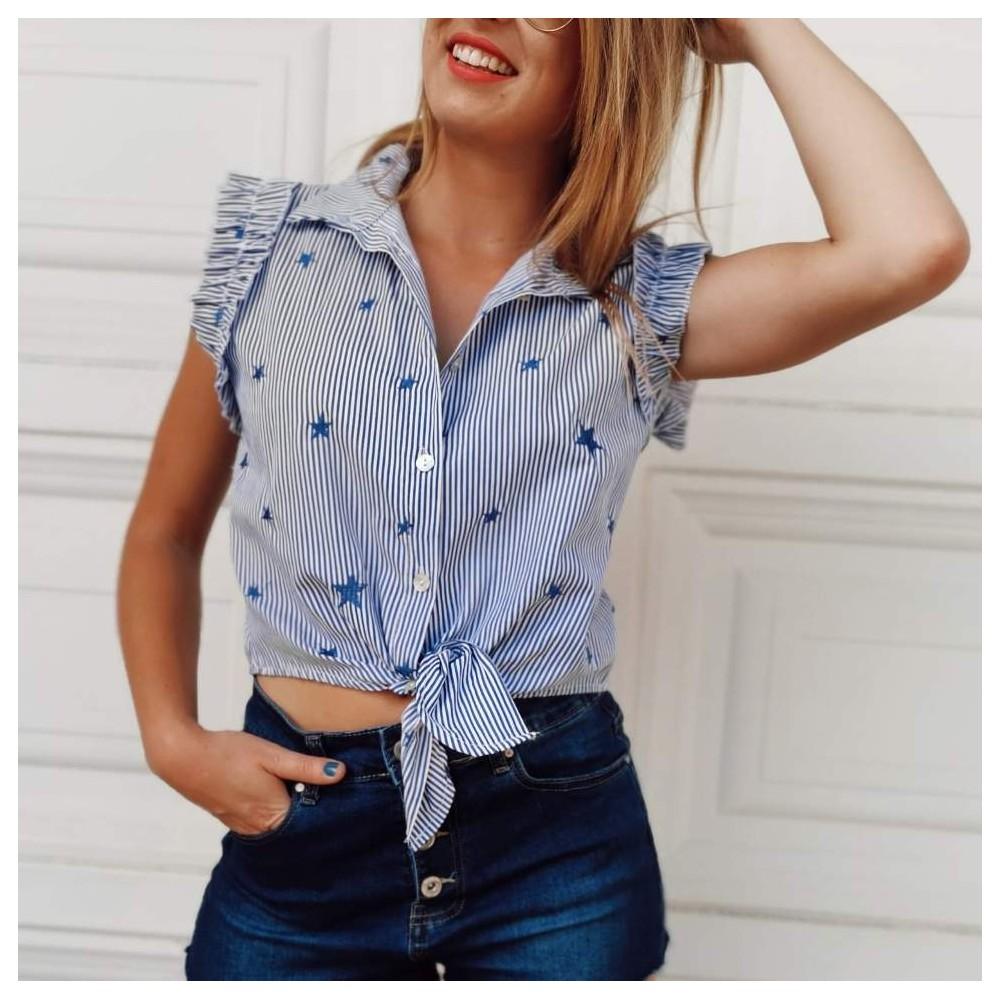 Blusa Rayas y Estrellas Azul/Blanco Heve