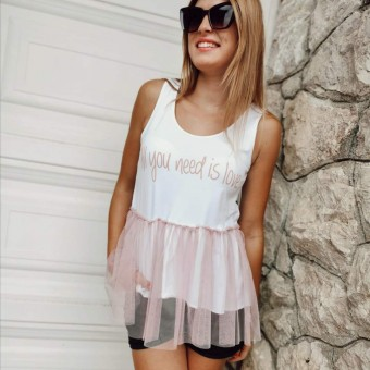 Camiseta Tull ALL YOU NEED IS LOVE Rosa Heve
