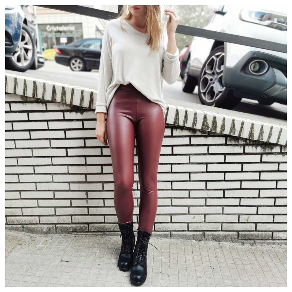 Legging Polipiel BLONDIE Burdeos Heve